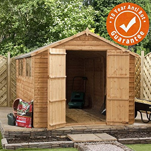 10x8-Overlap-Wooden-Garden-Shed-Windows-Double-Doors-Apex-Roof-Felt-By-Waltons-0