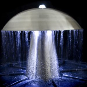 1ft-Abbey-Falls-Stainless-Steel-Mushroom-Water-Feature-with-LED-lights-Downward-Upward-Lights-0