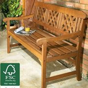 3-Seater-Wooden-Garden-Bench-Quality-All-weather-Eucalyptus-Hardwood-with-brass-plated-fittings-Certified-by-FSC-Forestry-Stewardship-Council-This-Lovely-Outdoor-Furniture-is-perfect-for-a-Conservator-0-0