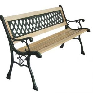 3-Seater-Wooden-Slat-Garden-Bench-Seat-Lattice-Style-Cast-Iron-Legs-0