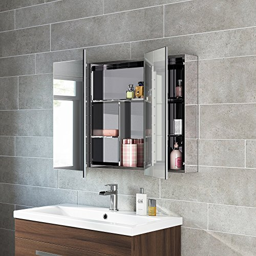 600 x 900 stainless steel bathroom mirror cabinet modern triple door storage unit house and for Stainless steel bathroom doors