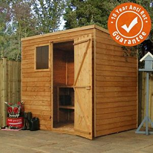 7x5-Overlap-Wooden-Pent-Shed-Styrene-Window-Single-Door-Felt-Included-By-Waltons-0