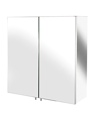 Bathroom mirror cabinet wall storage furniture 600 x 550 mounted hung recessed large modern for Tall stainless steel bathroom cabinet
