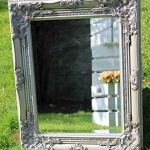 Best-Selling-French-Silver-Shabby-Vintage-Antique-Style-Wall-Mirror-with-Bevelled-Glass-Overall-Mirror-Size-17-inches-x-21-inches-43cm-x-53cm-0