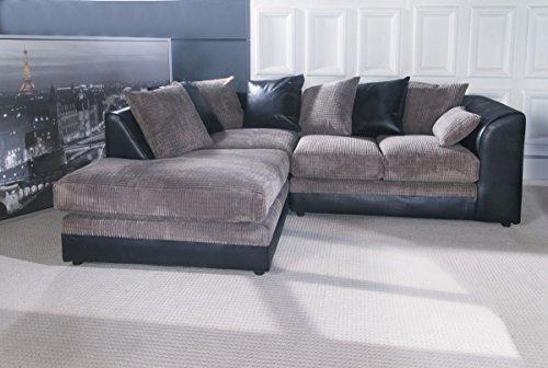 Dilo dylan corner sofa set optional footstool black grey for Black and grey sofa set
