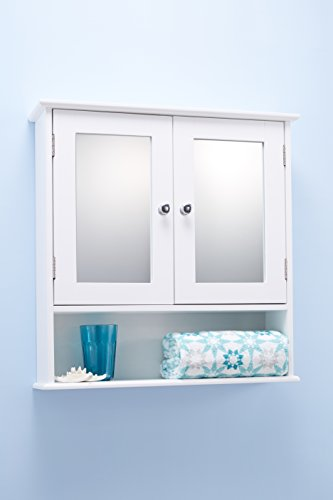 Double door white bathroom mirror cabinet mirrored bathroom cabinet house and garden store for Double door mirrored bathroom cabinet