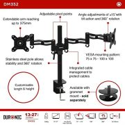 Duronic-DM352-Double-Twin-LCD-LED-Desk-Mount-Die-Cast-Aluminium-Arm-Monitor-Stand-Bracket-Super-Strong-with-Tilt-and-Swivel-Tilt-15Swivel-180Rotate-360-10-Year-Warranty-0-2
