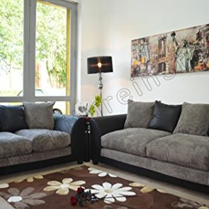Dylan-Byron-Black-and-Grey-Fabric-Sofa-Settee-Couch-32-Seater-0