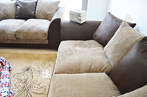 Dylan Byron Brown And Beige Fabric Sofa Settee Couch 3 2