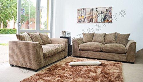 Dylan Byron Caramel Mink Fabric Jumbo Cord Sofa Settee