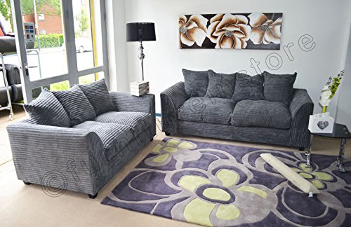 Dylan Byron Grey Fabric Jumbo Cord Sofa Settee Couch 3 2