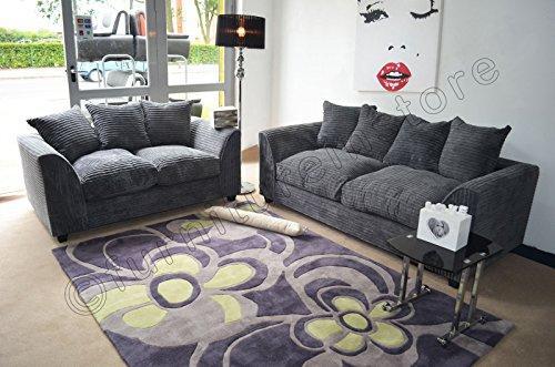 Dylan Byron Grey Fabric Jumbo Cord Sofa Settee Couch 3 2