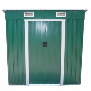 FoxHunter-Garden-Shed-Metal-Pent-Roof-4FT-X-8FT-Outdoor-Storage-With-Free-Foundation-Green-and-White-0