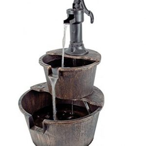 Gardensity--Electric-2-Tier-Barrel-Water-Fountain-Feature-with-Pump-Bronze-Realistic-Wood-Look-0