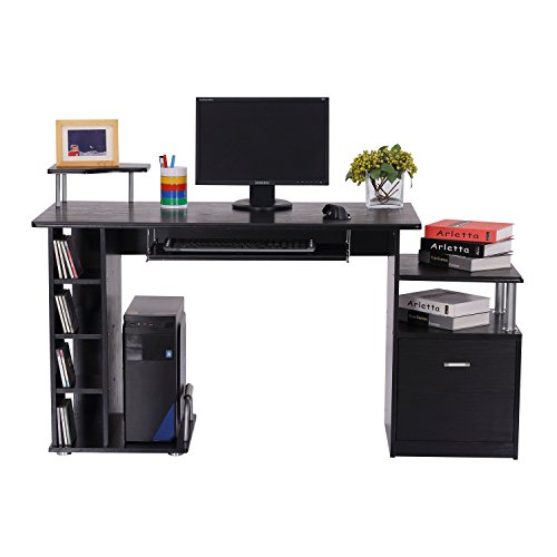 Homcom Computer Desk Pc Workstation With Drawer Shelves
