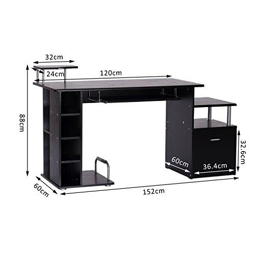 HOMCOM Computer Desk PC Workstation with Drawer Shelves CPU Storage Rack Home Office Furniture ...