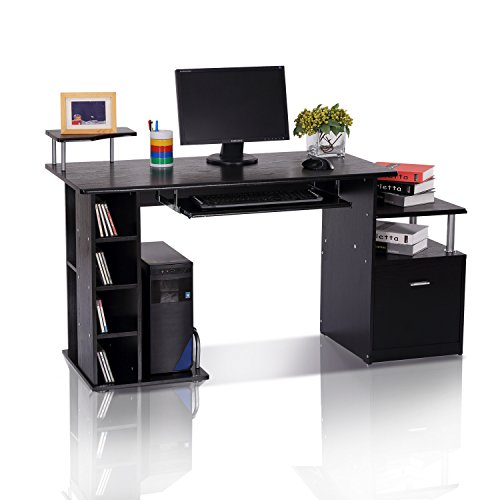 HOMCOM Computer Desk PC Workstation With Drawer Shelves