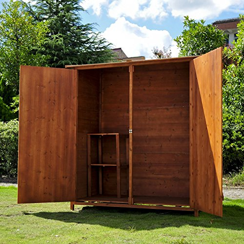 Homcom Wooden Timber Garden Storage Shed Double Door