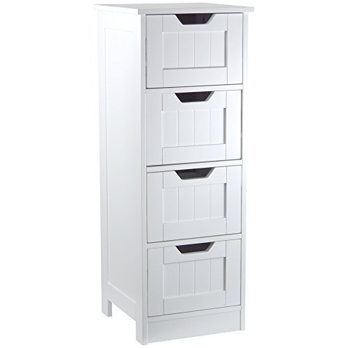 Home discount bathroom 4 drawer floor standing cabinet unit storage wood white house and for Cheap bathroom storage cabinets