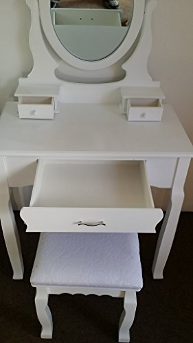 Jasmine White Dressing Table Set With Adjustable Oval