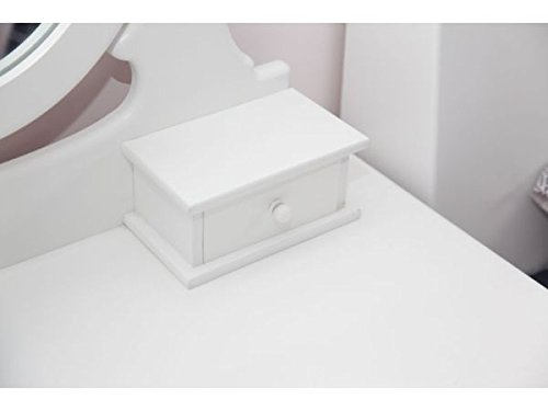 White Bedroom Set With Dressing Table: JASMINE-WHITE-DRESSING-TABLE-SET-WITH-ADJUSTABLE-OVAL