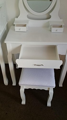 Jasmine White Dressing Table Set With Adjustable Oval