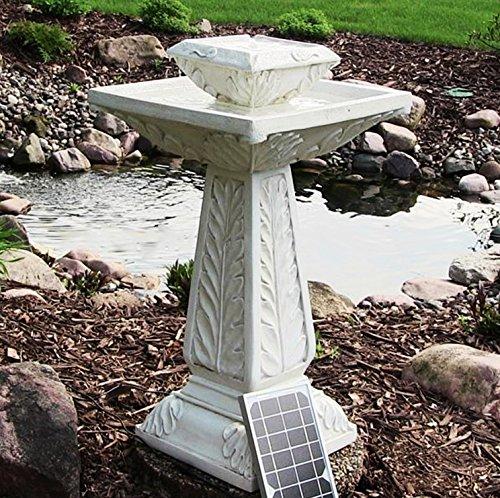 Large Victorian Solar Powered Outdoor Bird Bath Water