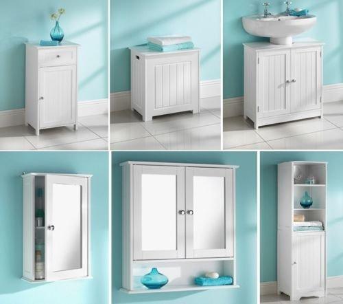Maine White Bathroom Mirrored Single Door Double Door Narrow 1 Drawer 1 Door Undersink Tallboy