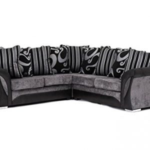 NEW-FARROW-LEATHER-CHENILLE-FABRIC-CORNER-SOFA-IN-BLACK-GREY-0