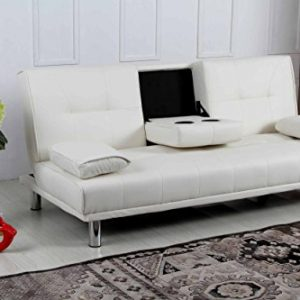 New-Sleep-Design-Manhattan-Modern-Faux-Leather-Fold-Down-3-Seater-Sofa-Bed-With-Drinks-Table-Cushions-Available-In-Black-Red-White-Green-Blue-Orange-Purple-Brown-0