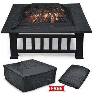 Outdoortips-Garden-Metal-Fire-Pit-Brazier-Square-Table-Patio-Heater-Stove-With-RainDust-Protective-Cover-0