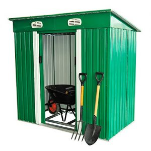 Outsunny-4-x-6-ft-Pent-Roofed-Metal-Garden-Shed-House-Hut-Gardening-Tool-Storage-w-Foundation-and-Ventilation-195-x-122-x-180-cm-0