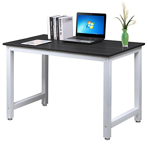 popamazing u00ae simple computer desk wood desktop workstation steel frame table home office