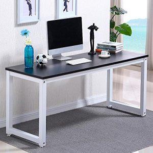 Popamazing-Simple-Computer-Desk-Wood-Desktop-Workstation-Steel-Frame-Table-Home-Office-Furniture-Black-0