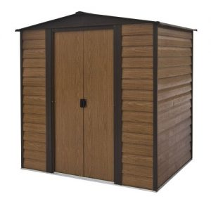 Rowlinson-6x5-Woodvale-Metal-Shed-Coffee-0