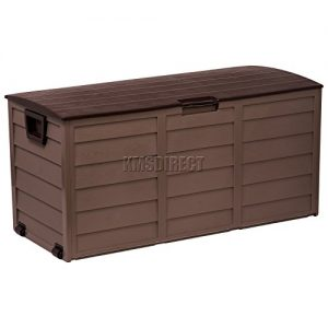 Starplast-Outdoor-Garden-Plastic-Storage-Utility-Chest-Cushion-Shed-Box-With-Lid-and-Wheels-Case-Container-Chocolate-and-Mocha-New-227L-Litre-34-811-0