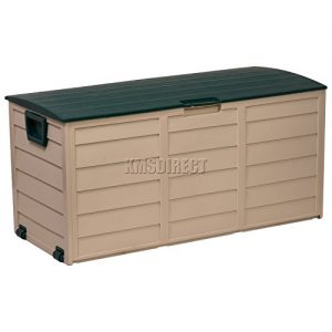 Starplast-Outdoor-Garden-Plastic-Storage-Utility-Chest-Cushion-Shed-Box-With-Lid-and-Wheels-Case-Container-Green-and-Beige-New-227L-Litre-34-811-0