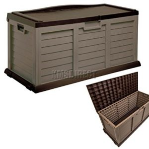 Starplast-Outdoor-Garden-Plastic-Storage-Utility-Chest-Cushion-Shed-Box-With-Sit-On-Lid-and-Wheels-Case-Container-Chocolate-and-Mocha-New-390L-Litre-14-811-0