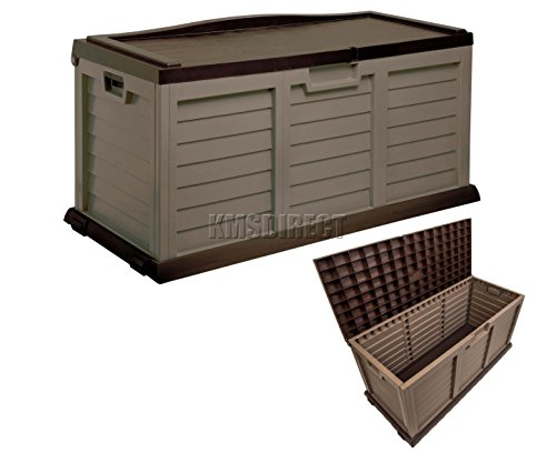 Starplast Outdoor Garden Plastic Storage Utility Chest Cushion Shed Box With Sit On Lid And Wheels Case Container Chocolate And Mocha New 390l Litre