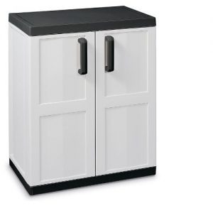 TOOMAX-85-x-68-x-42cm-Comfort-Line-Medium-Storage-Unit-with-2-Doors-2-Adjustable-Shelves-Grey-Black-0