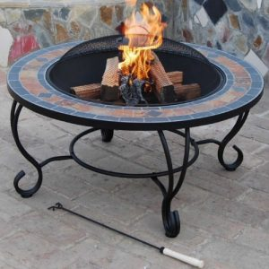 Villa-Beacon-35-inch-Diam-Natural-Slate-Coffee-Table-with-Fire-Pit-BBQ-Grid-Safety-Mesh-Weather-Cover-0