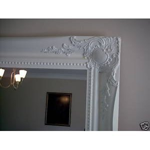 White shabby chic antique style rectangular wall mirror for Mirror 40cm wide