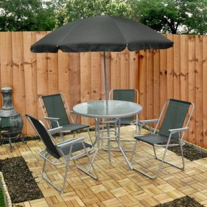 6 piece garden furniture patio set inc chairs table umbrella