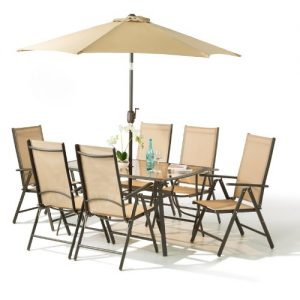 8 Piece Santorini Garden And Patio Set U2013 New 2014 Model, Now With 100%  Aluminium Framework 6 X Multi Position Recliner Chairs Table  And 2.2 Metre  Tilt And ...