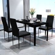 Black-Dining-Table-With-Glass-Top-and-Metal-Frame-0-0