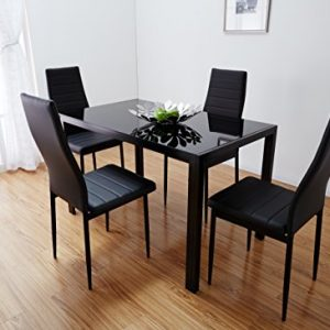 Black-White-Glass-Dining-Table-Set-with-4-Faux-Leather-Chairs-Brand-New-Black-0