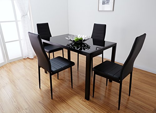 House and Garden Store & Black \u0026 White Glass Dining Table Set with 4 Faux Leather Chairs Brand New (Black)
