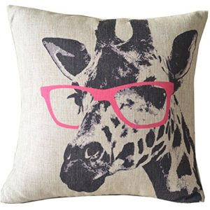 Cartoon-Giraffe-Pink-Glasses-Cotton-Linen-Sofa-Decor-Throw-Pillow-Covers-Pillowcase-Sham-Decor-Cushion-Cover-Slipcovers-Square-18x18-Inch-18-Only-Cover-No-Insert-0
