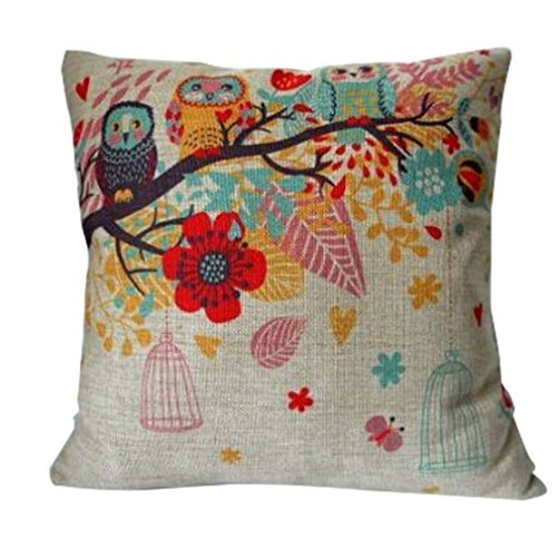 Cotton-Linen-Square-Decorative-Throw-Pillow-Case-Cushion-Cover-Owls-with-Birdcage-18-X18-0
