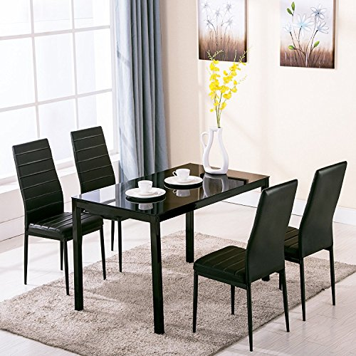 EBS BRAND Modern Faux Marble & Glass Dining Table Set And